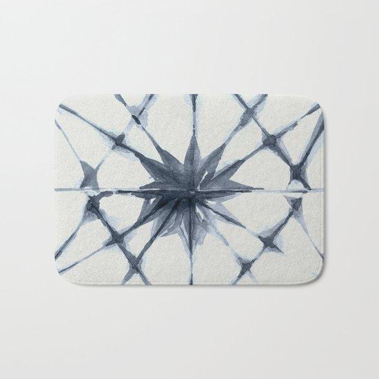 Shibori Starburst Indigo Blue on Lunar Gray Bath Mat