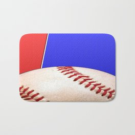 Baseball Sports on Blue and Red Bath Mat