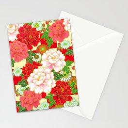 Red Pink Peony Vintage Japanese Floral Kimono Pattern Stationery Cards