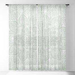 Mandala, Yoga Love, Sage Green, Boho Print Sheer Curtain