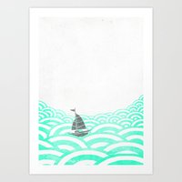 boat Art Prints featuring boat by lazy albino
