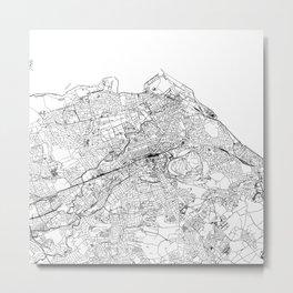 Edinburgh White Map Metal Print