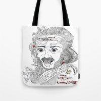 einstein Tote Bags featuring Einstein by Ina Spasova puzzle