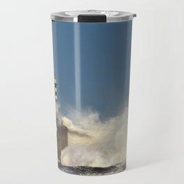 Stormy wave over lighthouse Travel Mug