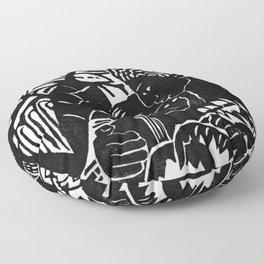 Couple Embracing - Vintage Block Print Floor Pillow