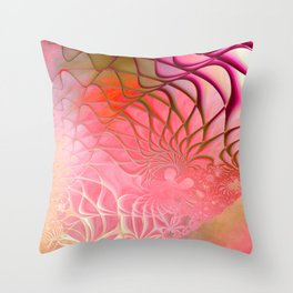 Web of the Universe (coral and magenta) Throw Pillow