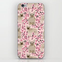 French Bulldog fawn coat cherry blossom florals dog pattern floral dog breeds iPhone Skin