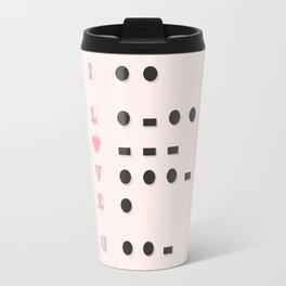 I Love U Morse Code Pink BG Travel Mug