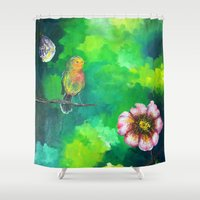 birdy Shower Curtains featuring Birdy Dreams by ANoelleJay