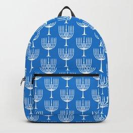 Hanukkah Menorah Silhouette - Cobalt Blue and White Backpack