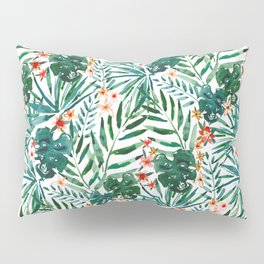 TROP DON'T STOP Tropical Palms and Monstera Pillow Sham