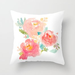 Watercolor Peony Bouquet Throw Pillow