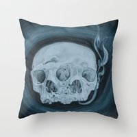 Throw Pillows featuring Siamese Skulls by feralsister