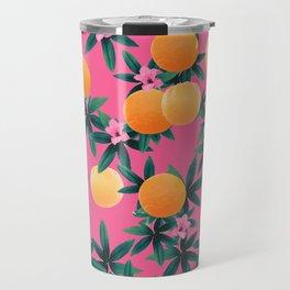 Orange Twist Flower Vibes #1 #tropical #fruit #decor #art #society6 Travel Mug