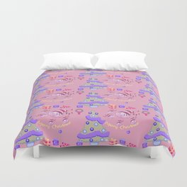 Pastel pink blue green watercolor Christmas typography pattern Duvet Cover