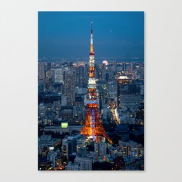 A Red Eifell Tower At Night? Canvas Print
