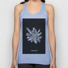 Chicago, Illinois Black and White Skyround / Skyline Watercolor Painting (Inverted Version) Unisex Tank Top