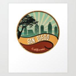 San Diego City Skyline California Retro Vintage Design Art Print