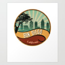 San Diego City Skyline California Retro Vintage Design Art Print