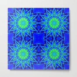 Green & Blue Starburst Series Metal Print