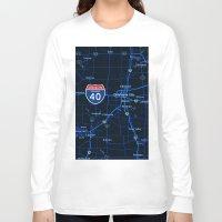oklahoma Long Sleeve T-shirts featuring oklahoma map by Larsson Stevensem