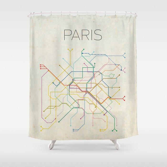 Minimal Paris Subway Map Shower Curtain