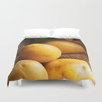 potato Duvet Covers featuring potato sack by Tanja Riedel