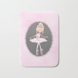 Pink & Grey Ballerina Dancer Bath Mat