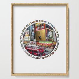 Times Square New York City (badge emblem on white) Serving Tray