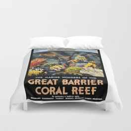 1933 Australia Great Barrier Coral Reef Travel Poster Duvet Cover