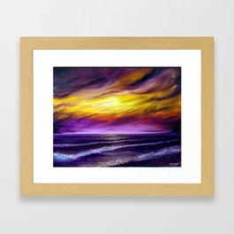 Violet ocean, oil painting Framed Art Print