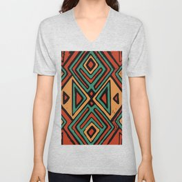 Red earth geometric pattern Unisex V-Neck