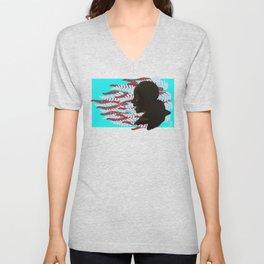 Black woman with braids floral Unisex V-Neck