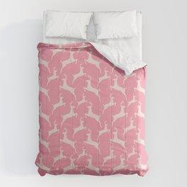 Pink Jumping Christmas Deer Pattern Comforters