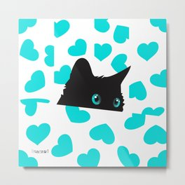 Cat on Blanket with Hearts Metal Print