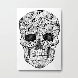 Human skull with hand- drawn flowers, butterflies, floral and geometrical patterns Metal Print