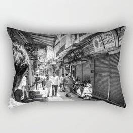 People walking in a street in Old Delhi, India Rectangular Pillow
