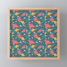 Manta Ray And Fish Pattern Framed Mini Art Print
