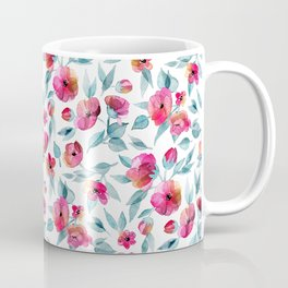 Fresh Spring Blooms in Watercolor - grey blue and magenta on white Coffee Mug