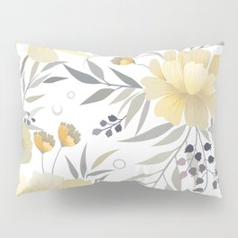 Modern, Floral Prints, Yellow, Gray and White Pillow Sham