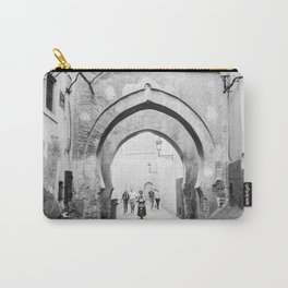 Black and white street photography | Medina of Marrakech | Travel photo print Carry-All Pouch