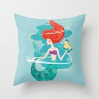 little mermaid Throw Pillows featuring Little Mermaid by LindseyCowley