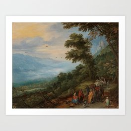 BRUEGHEL EL VIEJO, JAN Bruselas, 1568 - Amberes, 1625 Gypsy Gathering in a Wood 1612. Art Print