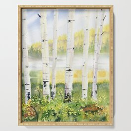 Behind The Birch Trees Serving Tray