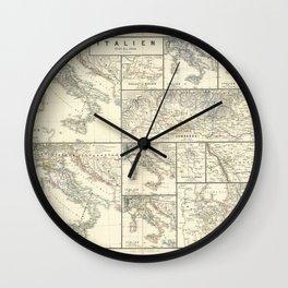 Vintage Map - Spruner-Menke Handatlas (1880) - 28 Italy 1798 - 1870 Wall Clock
