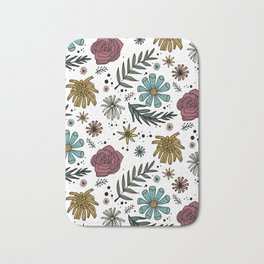 Wild Flower Colorful Floral Pattern Hand Drawn Illustration Bath Mat