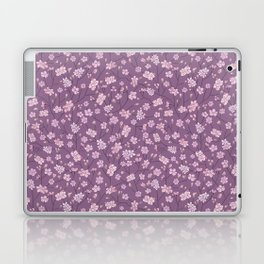 Pink sakura branches with on purple background Laptop & iPad Skin