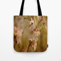 cherry blossoms Tote Bags featuring Cherry Blossoms by Dorothy Pinder