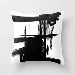 Black Brush Strokes Modern Minimalist Abstract Painting Art, nr 12 Throw Pillow