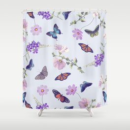 seamless pattern of butterflies and flowers Shower Curtain